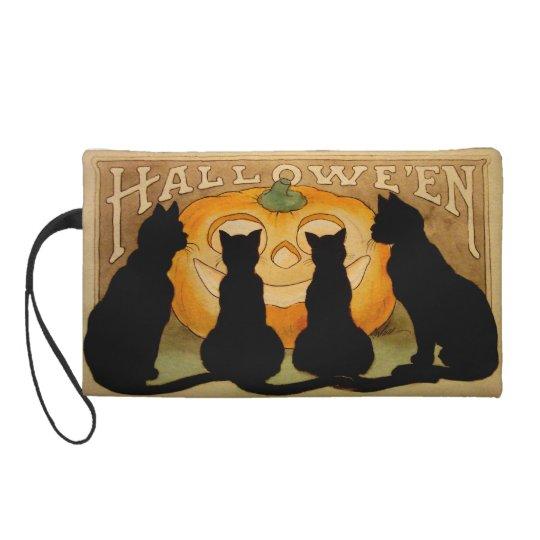 Black Cats and a Jack O'Lantern Wristlet Purse