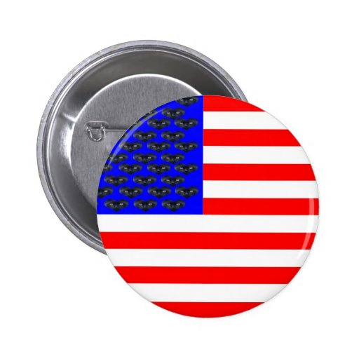 Black Cats And Stripes Flag 2 Inch Round Button