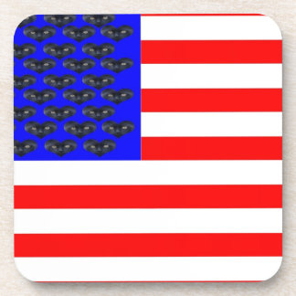 Black Cats And Stripes Flag Drink Coaster