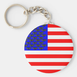 Black Cats And Stripes Flag Keychain