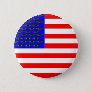 Black Cats And Stripes Flag Pinback Button