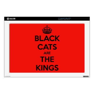 "Black Cats are King - Red Background 17"" Laptop Skins"