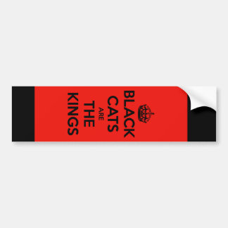 Black Cats are King - Red Background Bumper Sticker