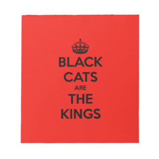 Black Cats are King - Red Background Notepad