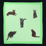 """Black Cats Bandana<br><div class=""""desc"""">Black cats on a green background decorate this lovely bandana</div>"""