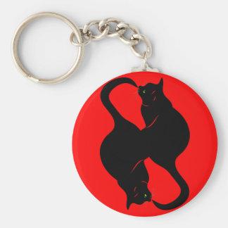 BLACK CATS BASIC ROUND BUTTON KEYCHAIN