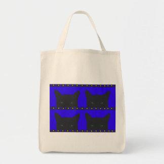 Black cats/blue hearts/ yellow dots tote bag