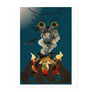 Black Cats Conjuring Spirits on Halloween Postcard