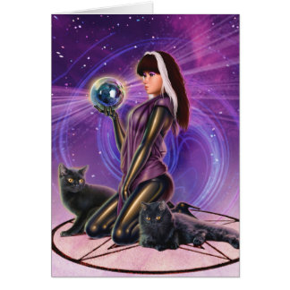 """""""Black Cats Divination"""" Greeting Card"""