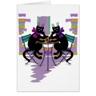 black cats drinking wine greeting card