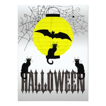 Halloween Themed Black Cats, Flying Bat & Spider Webs Card