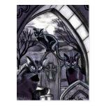 Black Cats Full Moon Graveyard Postcard