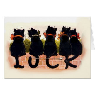 black cats - good luck greeting card