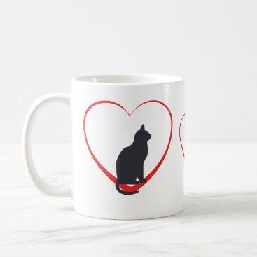 Valentines Themed Black cats in open red hearts coffee mug