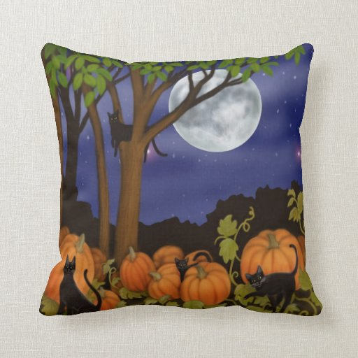 Black Cats in Pumpkin Patch Pillow