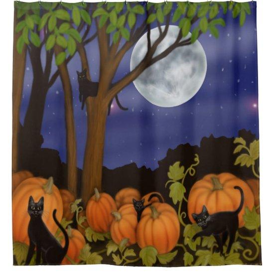 Black Cats in Pumpkin Patch Shower Curtain