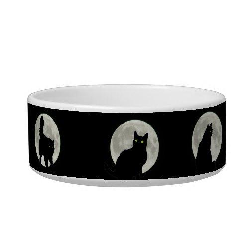 Black Cats in the Full Moon Light Bowl