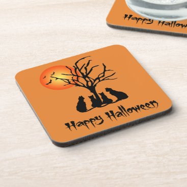 Halloween Themed Black Cats In The Moonlight Drink Coaster