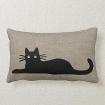 Black Cats Lumbar Pillow
