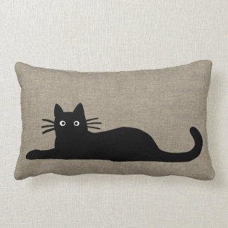Black Cats Lumbar Pillow