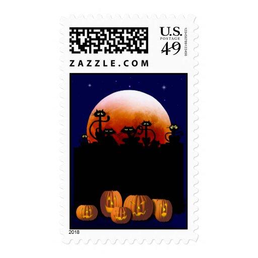 Black Cats, Moon, Pumpkins Postage