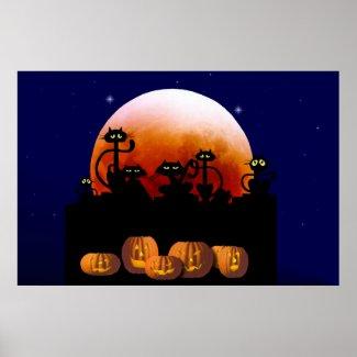 Black Cats, Moon, Pumpkins Poster print