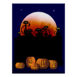 Black Cats, Moon, Pumpkins Poster