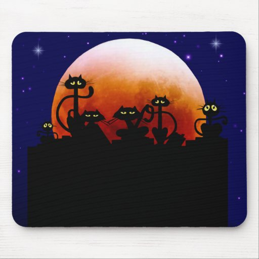 Black Cats On A Fence Mousepad
