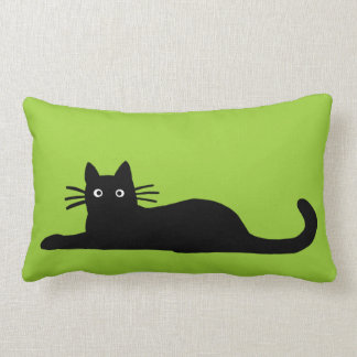 Black Cats on Green (Color is Customizable) Throw Pillow