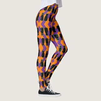 Black Cats on Orange and Purple Harlequin Stripe Leggings