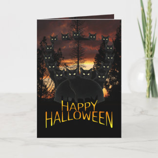 Black Cats On Patrol Halloween Card