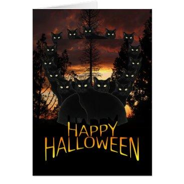 Halloween Themed Black Cats On Patrol Halloween Card