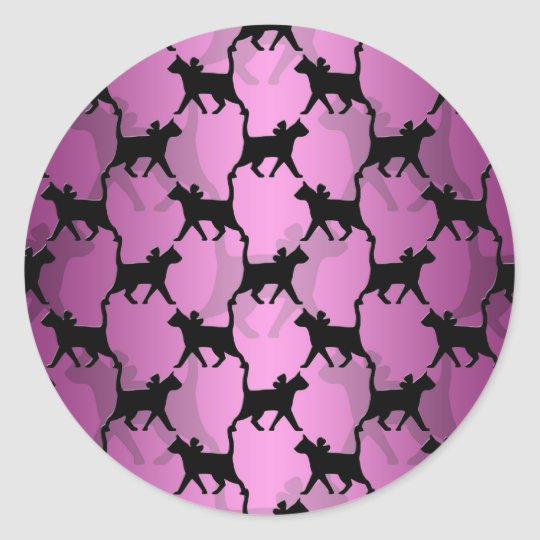 Black Cats on PInk Classic Round Sticker