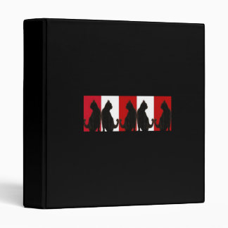 Black Cats on Red and White Binder