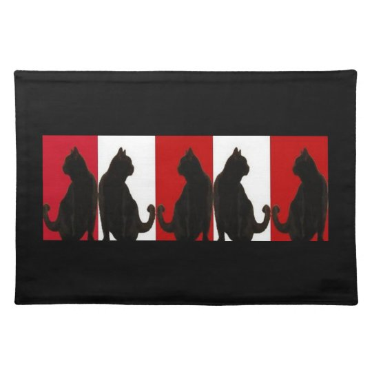 Black Cats on Red and White Placemat