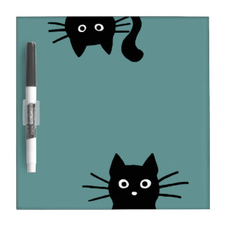 Black Cats on Teal (Color is Customizable) Dry-Erase Board
