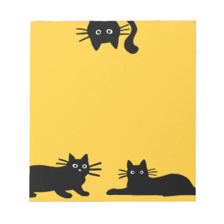 Black Cats on Yellow (Color is Customizable) Memo Pad
