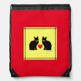 """""""Black Cats On Yellow"""" Red Backpack"""