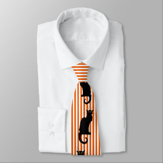 Black Cats Orange Striped Halloween Tie