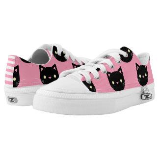 Black Cats Pattern Low-Top Sneakers
