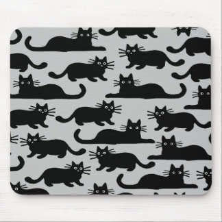 Black Cats Pattern Mouse Pad