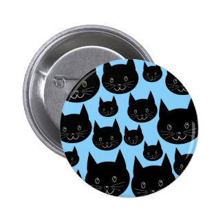 Black Cats Pattern on Blue. Pin