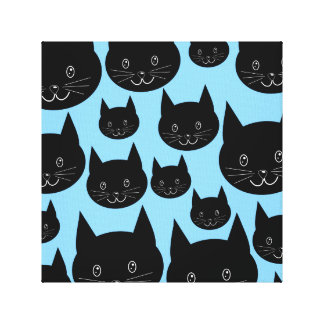 Black Cats Pattern on Blue. Canvas Print