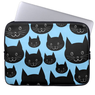Black Cats Pattern on Blue. Computer Sleeve