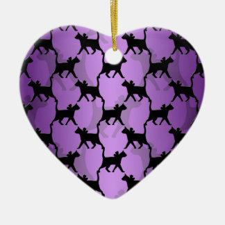 Black Cats Pattern on Purple Ceramic Ornament