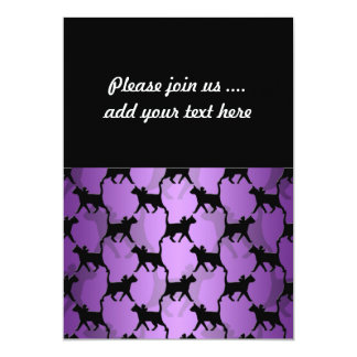 Black Cats Pattern on Purple 5x7 Paper Invitation Card