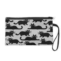 Black Cats Pattern Wristlet Purse