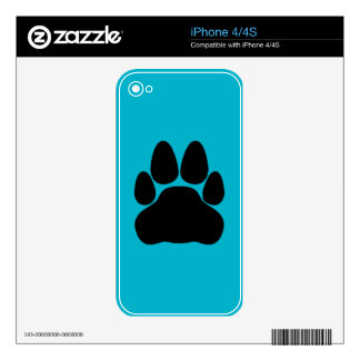 Black Cat's Paw Print for Pet-lovers iPhone 4S Decal