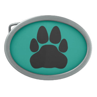 Black Cat's Paw Print for Pet-lovers Oval Belt Buckle