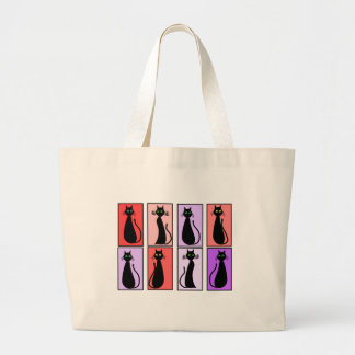Black Cats Pop Art Gifts Large Tote Bag